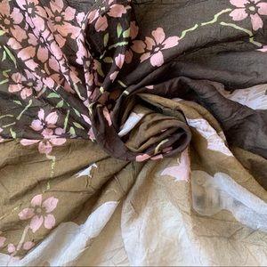 Cherry Blossom Print Square Cotton Scarf